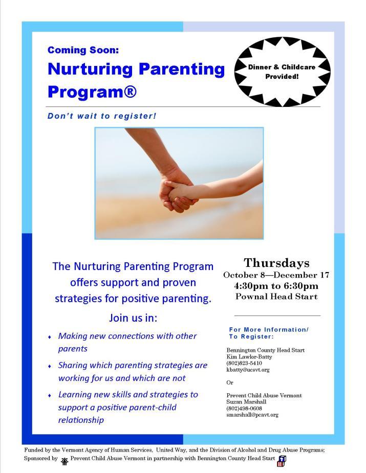 Pownal Nurturing Parenting Flyer